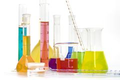 Chemical flasks with reagents Stock Image
