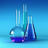 Chemical flasks with reagents royalty free illustration
