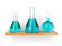 Chemical flasks on the shelf. Reagent in lab, Stock Photography