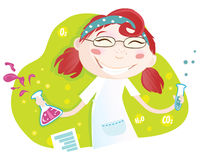 chemical flickalaboratoriumskola royaltyfri illustrationer