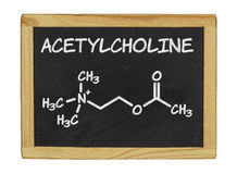 Chemical formula of acetylcholine on a chalkboard Stock Photography