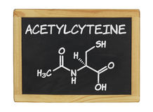 Chemical formula of acetylcysteine Stock Photos