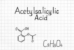 Chemical formula of Acetylsalicylic Acid. Stock Photos