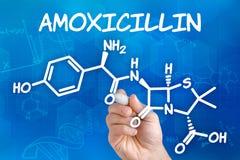 Chemical formula of Amoxicillin Stock Photography