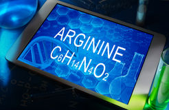 The chemical formula of arginine. On a tablet with test tubes Stock Images