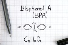Chemical formula of Bisphenol A BPA with black pen. Close-up Stock Photography