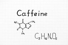Chemical formula of Caffeine. Stock Image