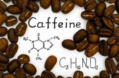 Chemical formula of Caffeine with coffee beans. Background. Close-up Royalty Free Stock Images