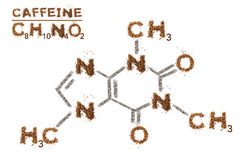 Chemical formula of Caffeine. Mixed media artwork by coffee grain. Stock Photos