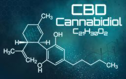 Chemical formula of Cannabidiol. The chemical formula of Cannabidiol stock illustration