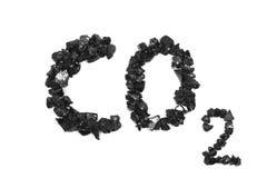 Chemical formula of carbon dioxide  pieces. Chemical formula of carbon dioxide from coal Stock Photo