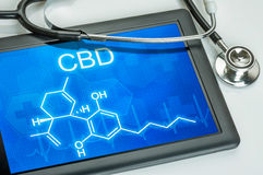 Chemical formula of CBD. Tablet with the chemical formula of CBD Royalty Free Stock Photos