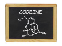 Chemical formula of codeine. On a blackboard Royalty Free Stock Photography