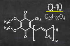Chemical formula of coenzyme q10 Royalty Free Stock Photo