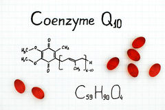 Chemical formula of Coenzyme Q10 with red pills. Close-up royalty free stock photo