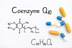 Chemical formula of Coenzyme Q10 with some pills. Stock Photo