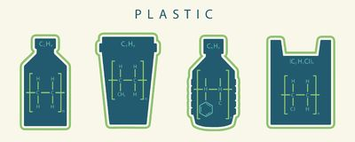 Chemical formula of common kinds of plastic in shape of disposable items like bottles, cups and bags harmful to environment royalty free illustration