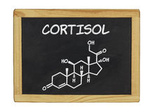 Chemical formula of cortisol on a chalkboard Royalty Free Stock Photo