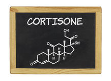 Chemical formula of cortisone on a chalkboard Royalty Free Stock Images