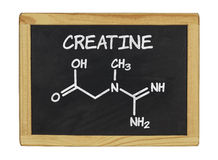 Chemical formula of creatine on a chalkboard Royalty Free Stock Image
