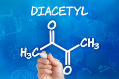 Chemical formula of Diacetyl Stock Photos