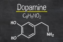 Chemical formula of dopamine. Blackboard with the chemical formula of dopamine Royalty Free Stock Photography