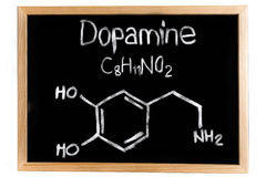The chemical formula of dopamine Stock Photography