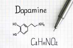 Chemical formula of Dopamine with pen. Close-up stock photos