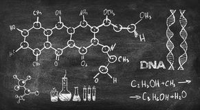 Chemical formula. Drawing chemical formula on black chalk board stock photos