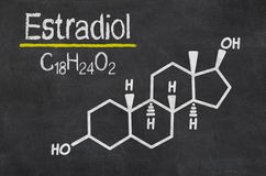 Chemical formula of estradiol. Blackboard with the chemical formula of estradiol Stock Images