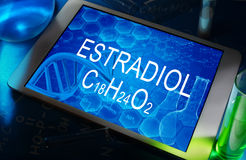 The chemical formula of estradiol Stock Image