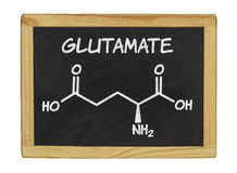 Chemical formula of glutamate on a chalkboard Stock Photo