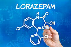 Chemical formula of Lorazepam Royalty Free Stock Photography