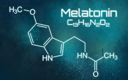Chemical formula of Melatonin. The chemical formula of Melatonin vector illustration