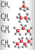 Chemical formula and molecule model methane CH4, ethane C2H4,  p Stock Image