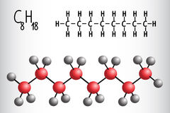 Chemical formula and molecule model of Octane C8H18 Stock Images