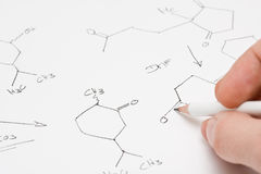 Chemical formula on paper Stock Images