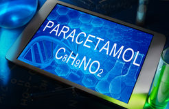 The chemical formula of Paracetamol Stock Photos