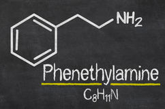 Chemical formula of Phenethylamine Stock Images