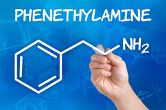 Chemical formula of Phenethylamine Royalty Free Stock Photography