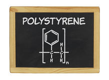 Chemical formula of polystyrene. On a blackboard Stock Photo