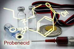 Chemical formula of probenecid, concept of doping in the sport Royalty Free Stock Photo
