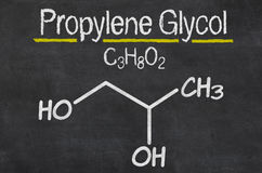 Chemical formula of Propylene glycol Stock Photos