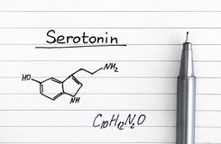 Chemical formula of Serotonin on lined paper with pen. Close-up royalty free stock images