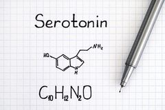 Chemical formula of Serotonin with pen. Close-up Stock Photo