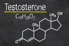 Chemical formula of testosterone. Blackboard with the chemical formula of testosterone royalty free stock photography