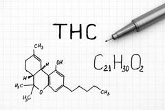 Chemical formula of THC with black pen. Chemical formula of Tetrahydrocannabinol THC with black pen. Close-up royalty free stock photography