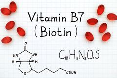 Chemical formula of Vitamin B7 Biotin with red pills. Royalty Free Stock Image