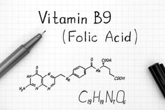 Chemical formula of Vitamin B9 Folic Acid with black pen Royalty Free Stock Image