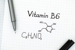 Chemical formula of Vitamin B6 with pen Stock Image